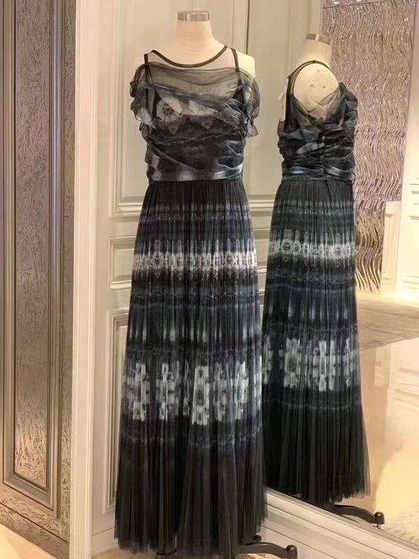 2019 new ladies fashion silk lace dress sleeveless dress 0417