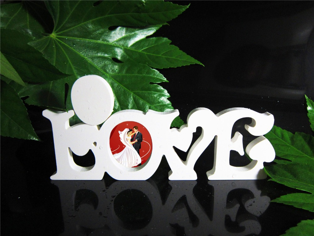New style Conjoined Letter LOVE Photo frame <font><b>Home</b></font> <font><b>Decor</b></font> Wedding Birthday Wedding Decoration Wood Wooden White Letters Alphabet