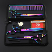 3Pcs/Set 7 Pet Scissors For Dog Grooming Scissors Set Hair Cutting Tools Kit Straight Curved Thinning Shears Clippers For Dogs