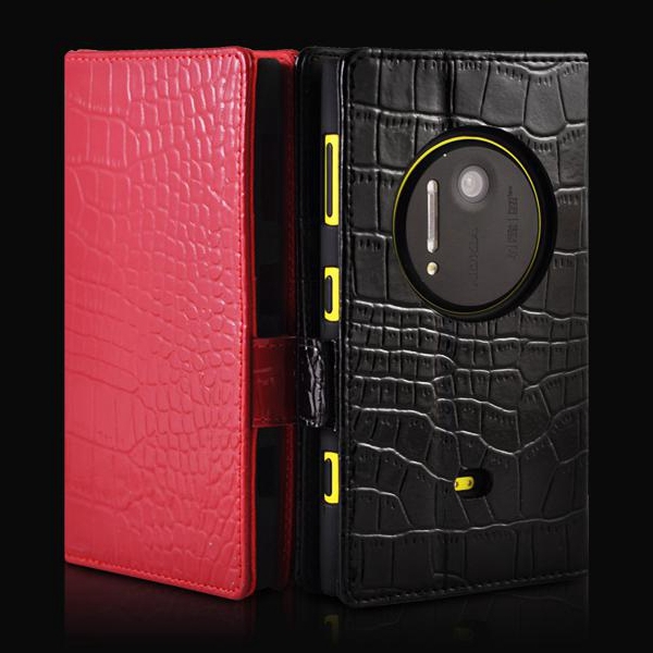 Luxury Crocodile Grain Flip Cover Genuine Leather Wallet Case Nokia Lumia 1020 - jess huang's store