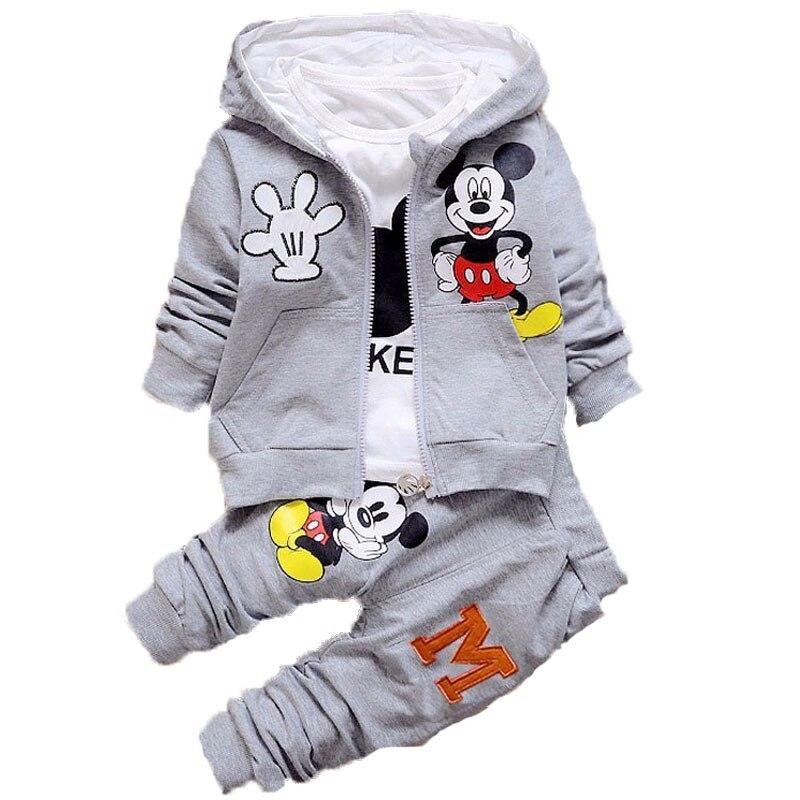 Children-Kids-Cartoon-Donald-Duck-Minnie--Clothes-Suits-Baby-Boys-Girls-Hooded-Jacket-T-Shirt