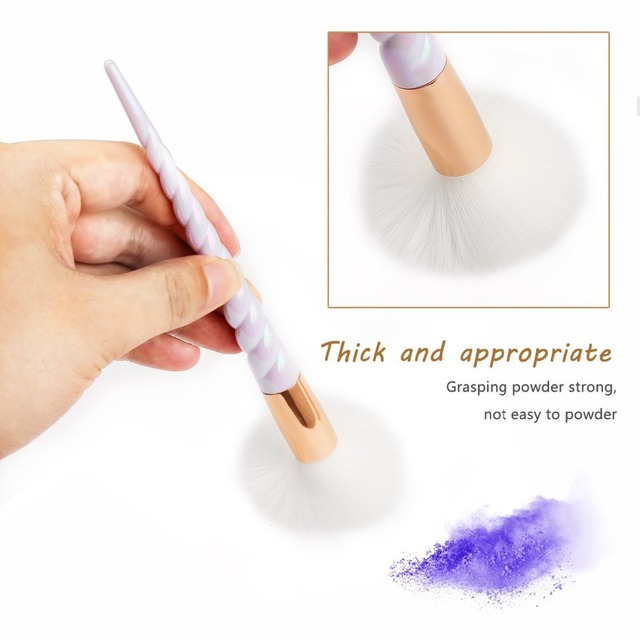 Unicorn Thread Makeup Brushes Professional Make Up Brushes Fiber Brush Set Makeup Tools Eyebrow Eyeliner Powder Brushes 4