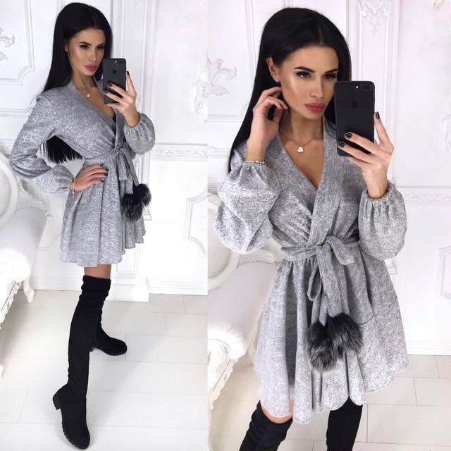 New Spring Winter Women Colors Cotton Sashes Hairball V-neck Fit and Flare Casue Warm Long Sleeve Dress Sexy elegant Vestidos 4