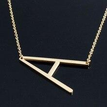 Grandes de la letra collares colgante alfabet inicial collar collier kolye choker collar joyería de las mujeres de acero inoxidable de color oro