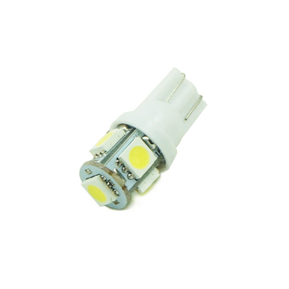 10pcs/lot Car Auto LED T10 5050 W5W 5 SMD 194 168 LED White Car Side Wedge Tail Light Lamp Bulb 12*30m 4x canbus error free t10 194 168 w5w 5050 led 6 smd white side wedge light bulb