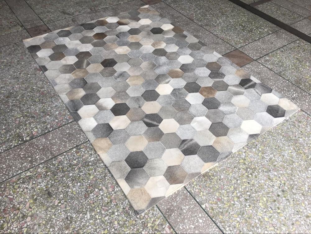 Gray beige handmade sew natural cowhide patchwork fur rug - Wandspiegel groay modern ...