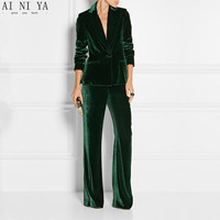 New Elegant Pant Suits Slim Women Office Business Suits Formal Work Wear 2 Piece Sets Dark Green Velvet Ladies Trouser Suits