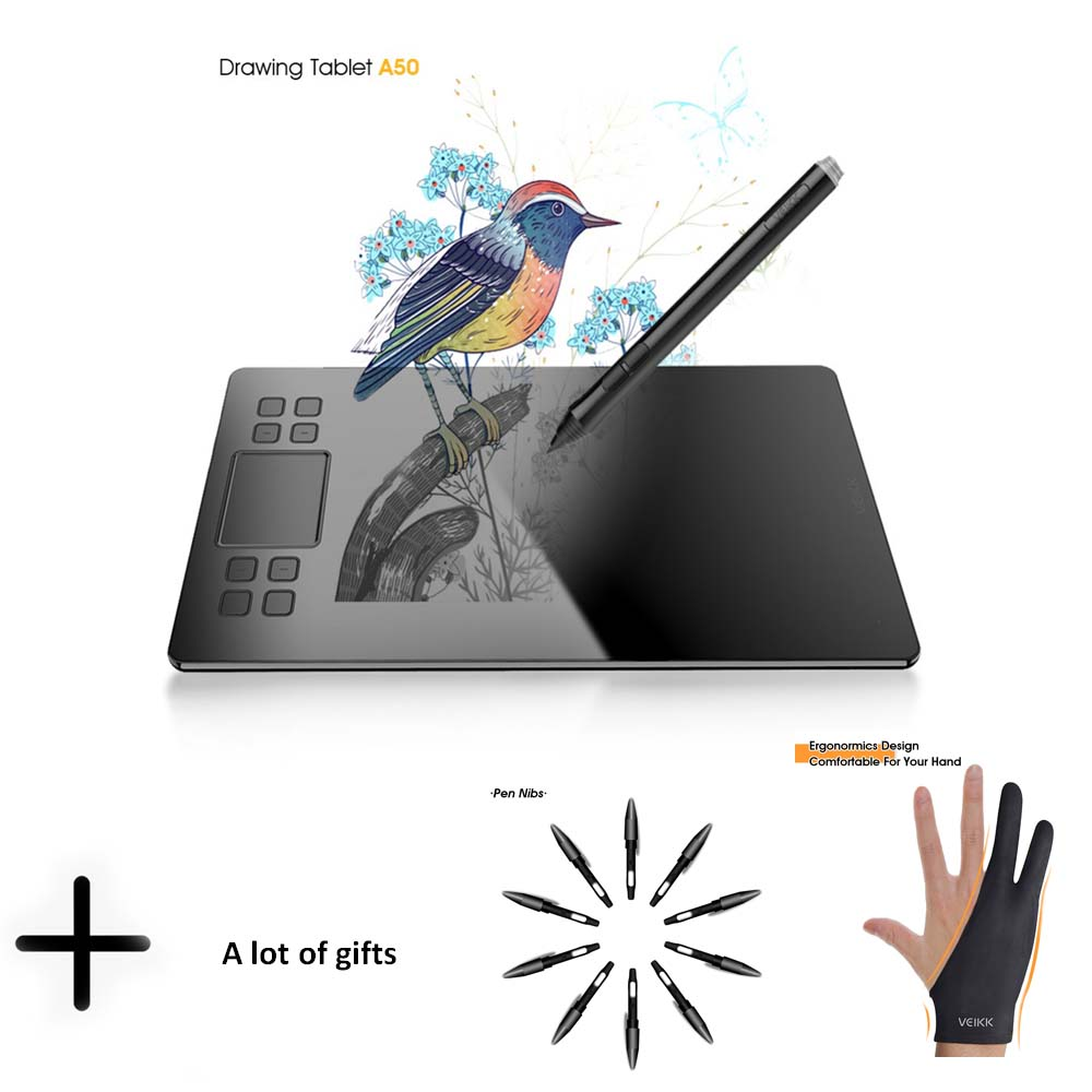 Graphics Drawing Tablet Veikk A50 Digital Pen Tablet With 8192 Levels Passive Pen Compatible With Win And Mac System