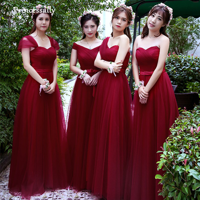 32dc8526e20 Robe De Soriee Simple Bridesmaid Dresses Cheap Under 50 Wine Red Pleat Floor -length Elegant Wedding Prom Party Gown Online China