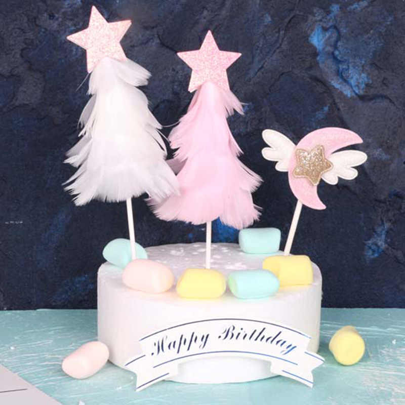 Pink White Feather Christmas Tree Cake Topper Decoration Dessert Supplie For Birthday Party Lovely