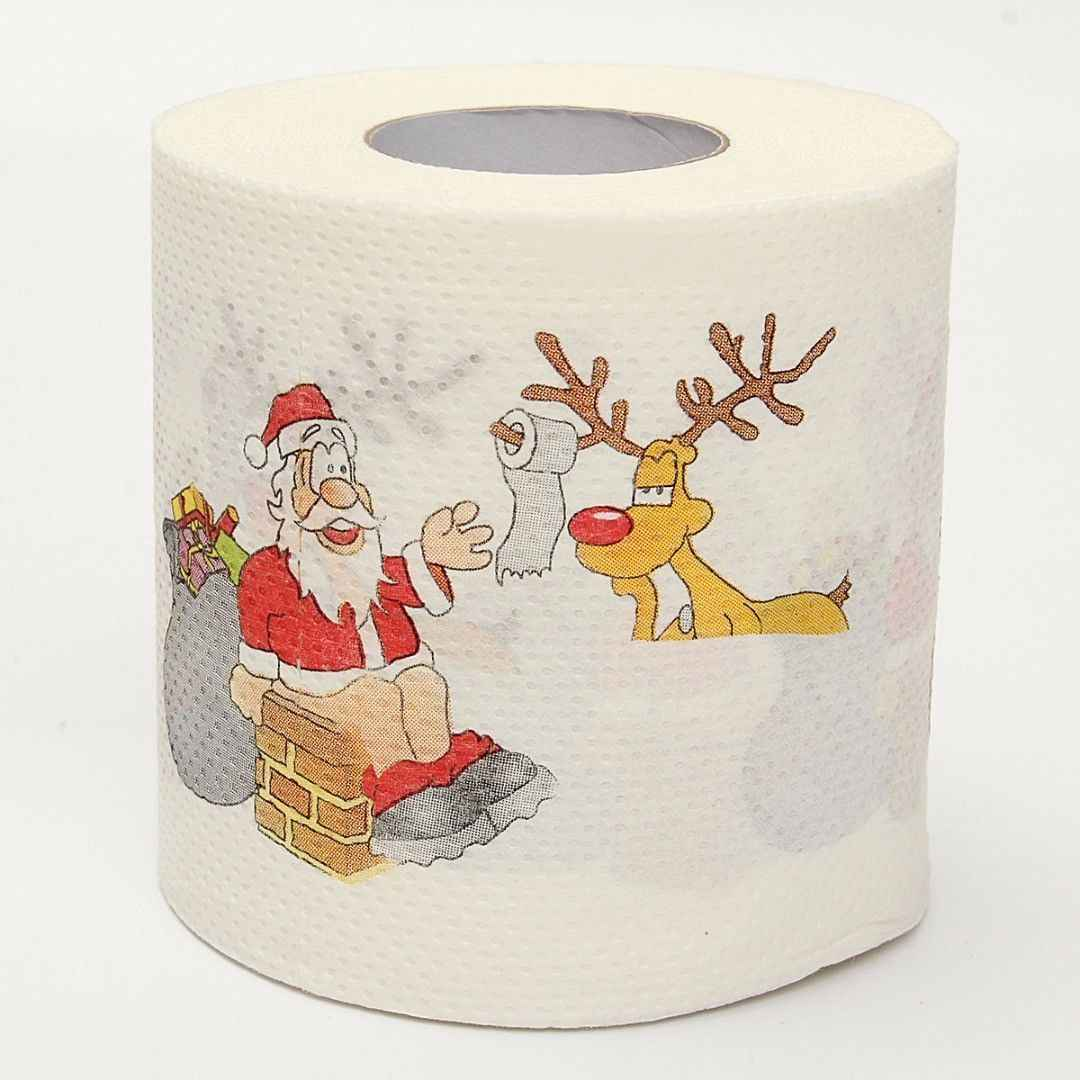 1 Roll Santa Claus Printed Merry Christmas Toilet Paper Tissue Table Room Decor Xmas Party Events Ornament Crafts Accessories