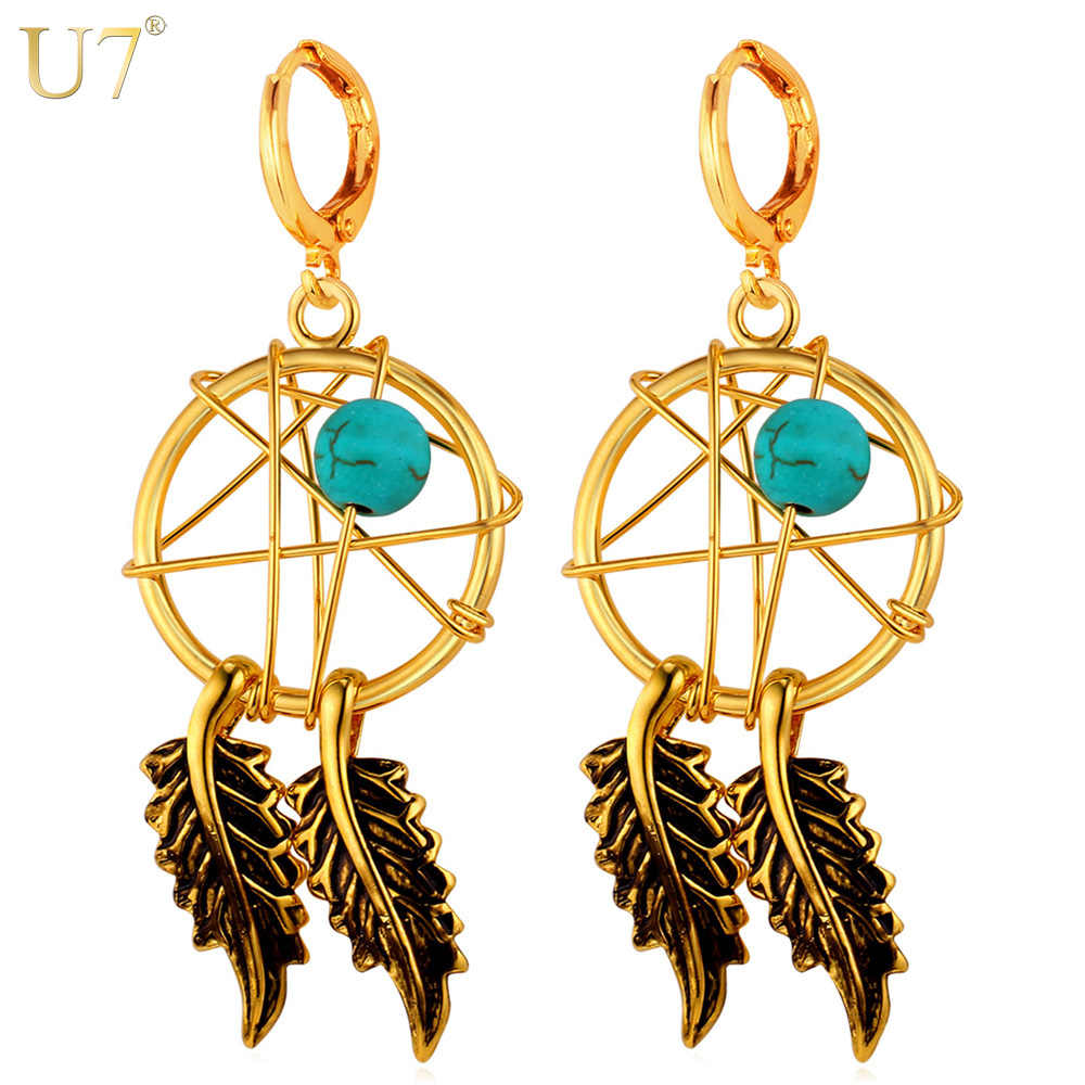 U7 New Hot India Jewelry Tassel Feather Earings Yellow Gold Color Dream Cather Statement Drop Earrings For Women E760