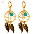 U7 New Hot India Jewelry Tassel Feather Earings Yellow Gold Plated Dream Cather Statement Drop Earrings For Women E760