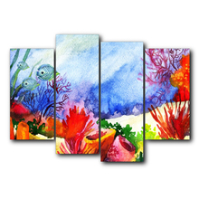 Vintage Nordic 4 Panel Canvas Underwater Fish Posters and Prints Abstract Wall Artwork For Home Living Room Decoration