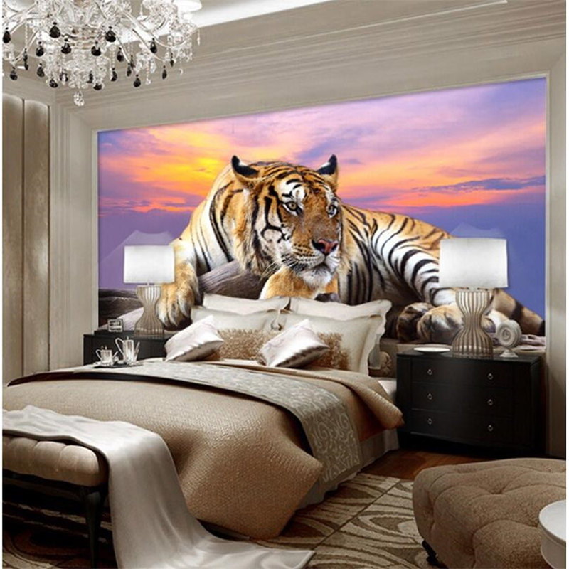 Beibehang custom wallpaper photo tiger animals wallpapers 3d large mural bedroom living room sofa tv backdrop wall mural tapety
