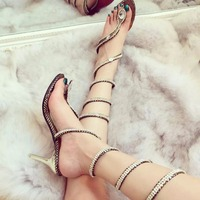 Gladiator Sandals High Heels Snake Strap Design Women Summer Shoes Clip Open Toe Crystal Sandals Women Boots Ladies Party Shoes