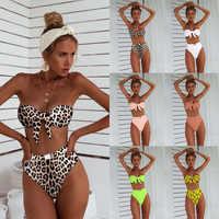 Alta cintura Bikini 2019 nuevo leopardo traje de baño de las mujeres de dos piezas Bandeau talle trajes de baño nadar vestido de traje de baño para las mujeres