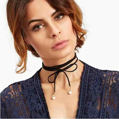 Gargantilla de encaje negro Collar tatuaje gótico Punk terciopelo largo colgante de las mujeres Collar de Gargantilla collares