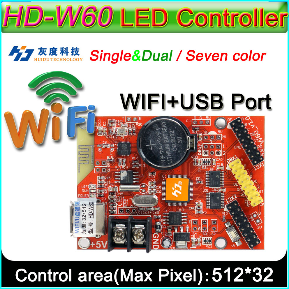 HD -W60 <font><b>LED</b></font> display controller, Single&double color <font><b>P10</b></font> <font><b>LED</b></font> sign <font><b>module</b></font> <font><b>Control</b></font> <font><b>card</b></font>,U-Disk and WIFI Wireless <font><b>control</b></font> image