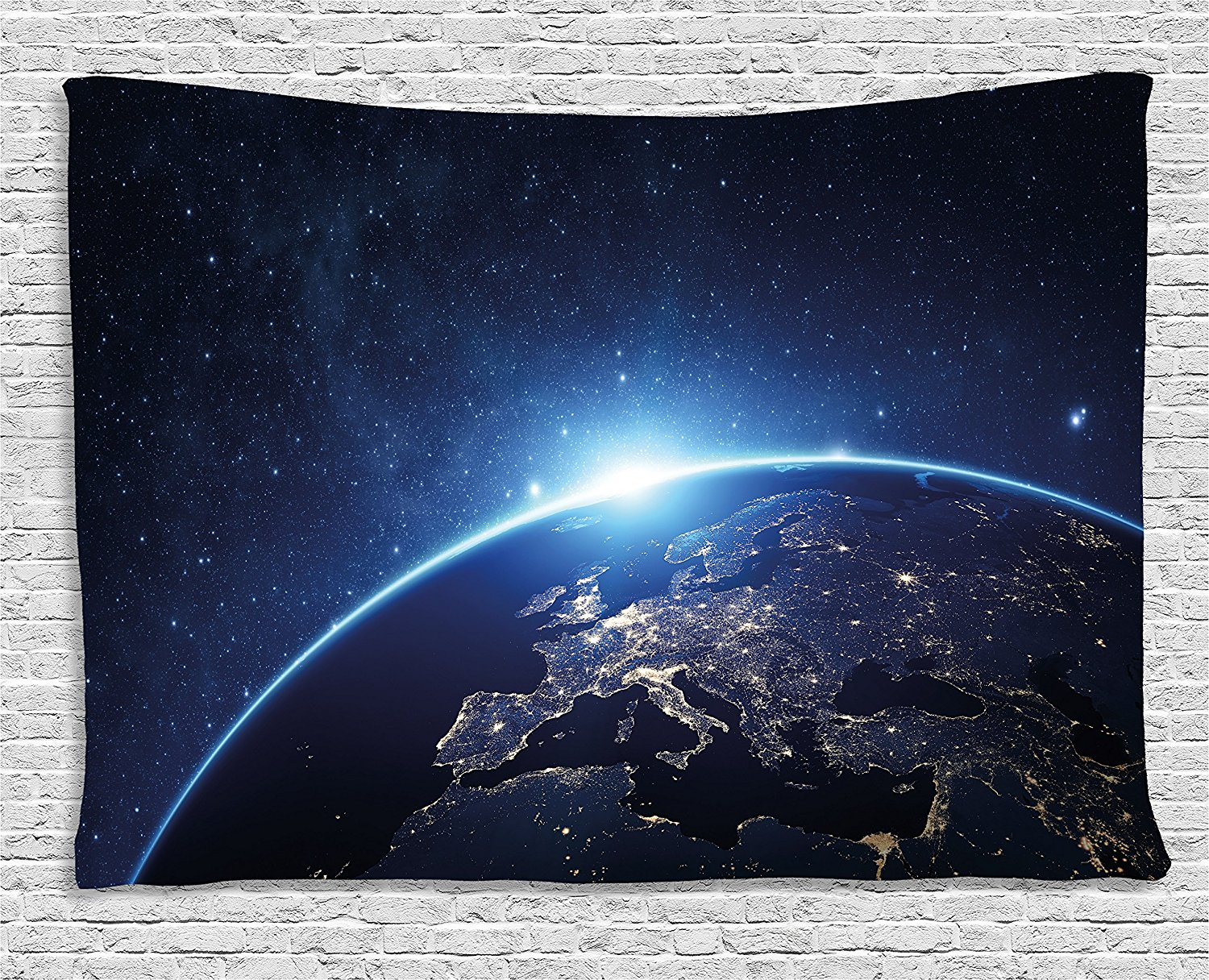 Earth Tapestry Planet From The Space at Night Galactic Astronomy Themed Ethereal Interstellar Image, Wall Hanging for Bedroom