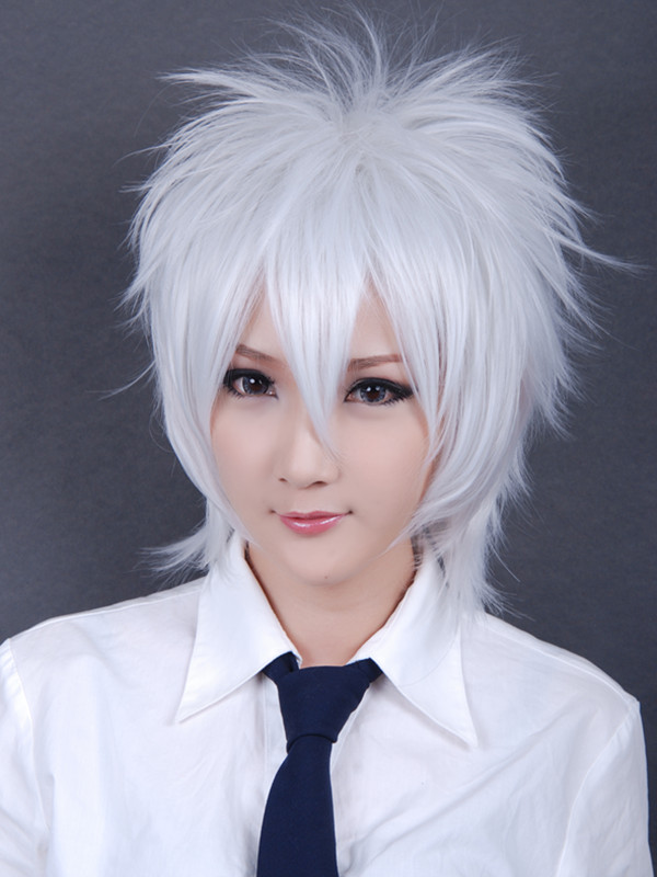Top Heat Resistance Silvery White Short Shaggy Layered Cosplay