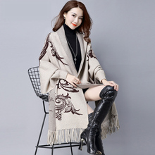 Women Elegant Print Poncho Batwing Sleeve Sweater Cardigans Ladies Knitted Tassel Cardigan Knitwear Outfit Jackets(China)