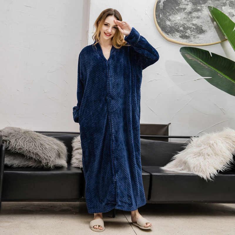 ... ZDFURS   Women Plus Size Winter Thermal Long Bathrobe Thick Flannel  Warm Kimono Bath Robe Dressing ... 4b4cb1614