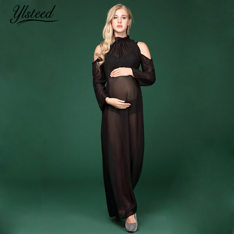 Maternity Photography Props Black Sheer Off Shoulder Chiffon Maternity Dress For Pregnancy Maxi Maternity Photography Dress plain cold shoulder chiffon dress