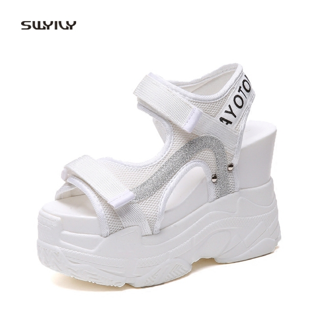 SWYIVY Women s Sandals Platform Rome Hook Loop 2018 White Shoes Female  Summer Casual Shoes Lady 11cm High Wedge Sandals Shoes 16541761e9d1