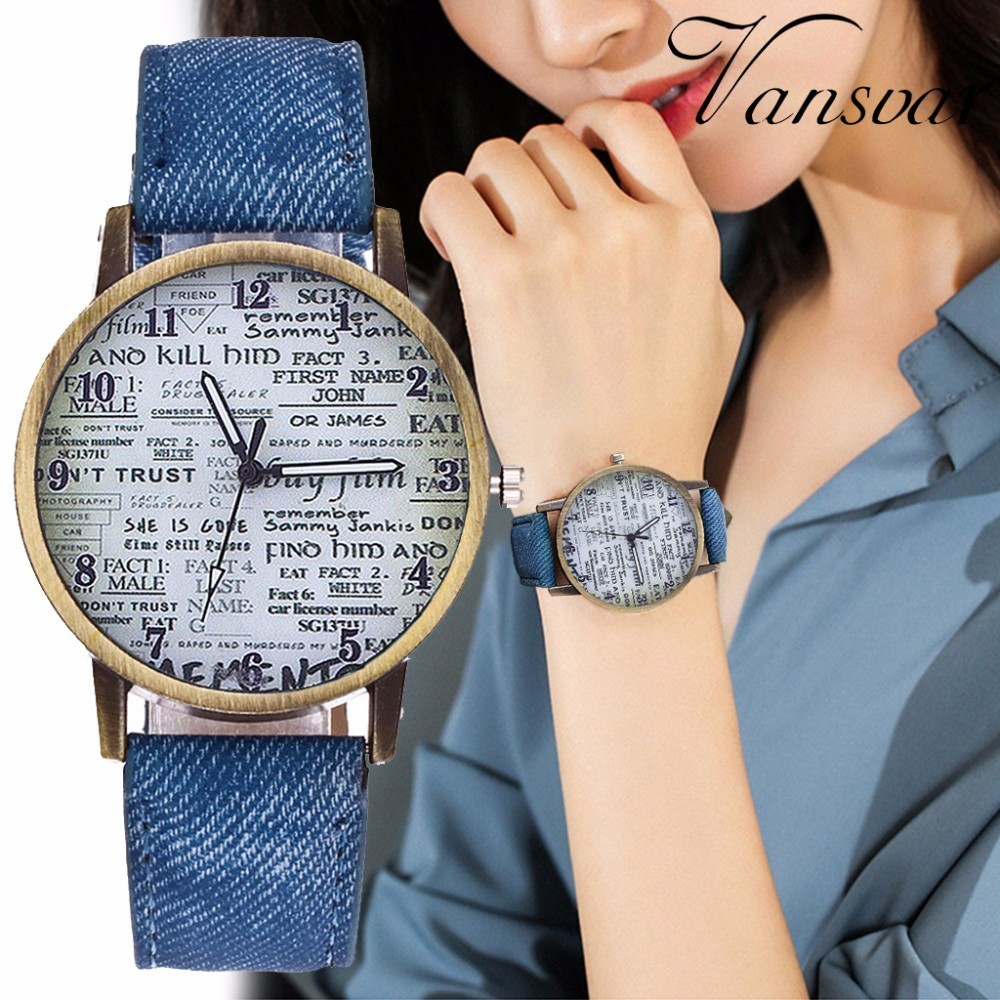 Vintage Jeans Strap Watch For Women Antique Leather Newpaper Watch Fashion Casual Wrist Watch Relogio Feminino Drop Shipping