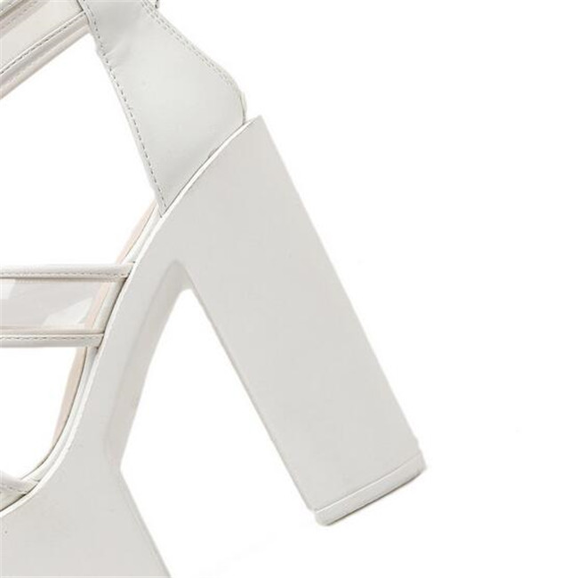 f159b164561 ... Transparent Platform Sandals Heels Gladiator Thick Chunky Women Punk  Ladies Party PXELENA Sandals High Square Block