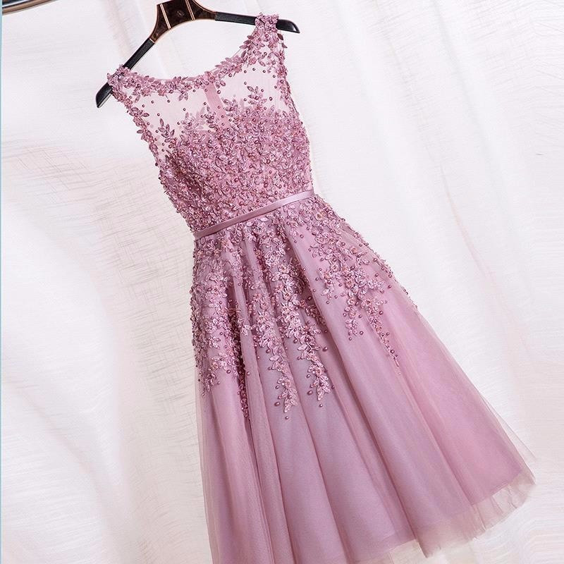 Cocktail Dresses 2016 Hot Pink Beaded Lace Appliques Short Prom Dresses Robe De Soiree Knee Length Party Evening Dress HE5768
