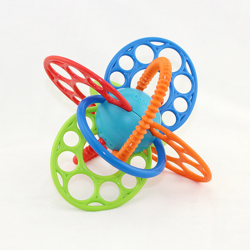 Baby Teether Pacifier Toy BPA Free Colorful Ball Rattle Early Hand Development