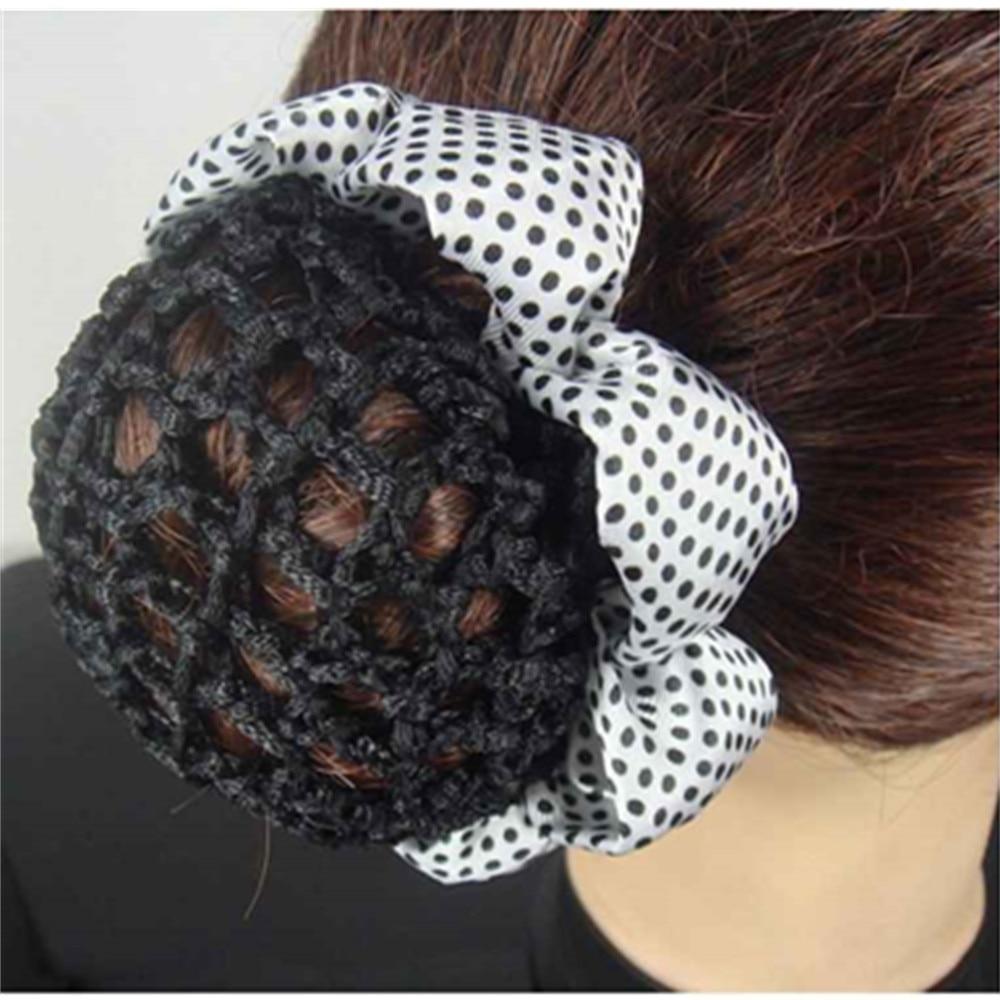 Dot Shiny Bun Cover Snood Ballet Dance Skating Hair Net Crochet Hairband
