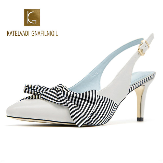 Gingham High Sandals Women White PU Leather Butterfly-knot 6CM Heels Ladies Ankle Strap Party Sandalias Mujer K-277