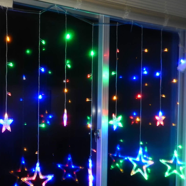 Battery Powered 2M 138 led Outdoor LED Copper Wire Colourful Litter Stars String Lights for Christmas Holiday Party light