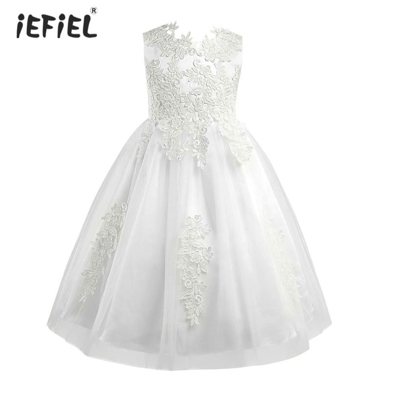 Cielarko Girls Dress Mesh Pearls Children Wedding Party Dresses Kids ...