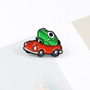 XEDZ новая горячая продажа мультяшная зеленая лягушка, красная брошь Автомобиль pin, творческие модные детские Мультяшные сумки, значок для рю...