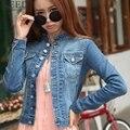 2017 Mulheres Casaco Básico Jaqueta Jeans Mulheres Plus Size 4XL 5XL Mulheres Jaqueta Jeans de Grandes Dimensões Jaqueta Jeans Para As Mulheres calças de Brim de inverno Casaco