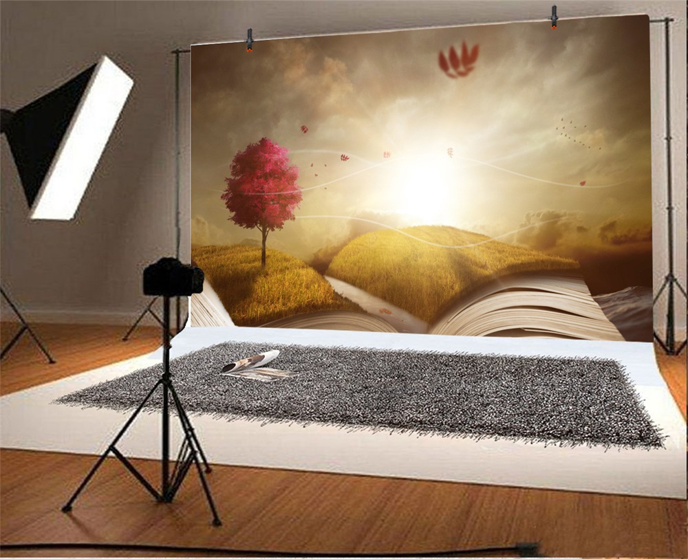 Laeacco Opened Book Grassland Tree Light Fantasy Photographic Backgrounds Customized Photography Backdrops For Photo Studio