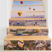 3D staircase stickers DIY hot air balloon pattern wall stickers decorative waterproof staircase stickers(China)