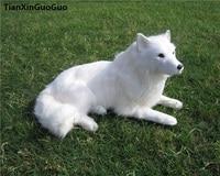 simulation samoyed dog hard model toy polyethylene&furs prone pose 32x15x20cm white dog handicraft home decoration gift s0669