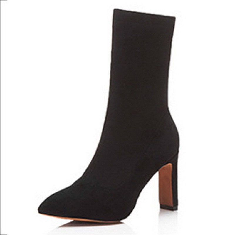 4 Stretch Heel Stoff Us65 High Ikai Frauen Slip 88lala Schuhe In 040n1529 Spitz Stiefeletten Lala Damen On WYH9eE2bDI