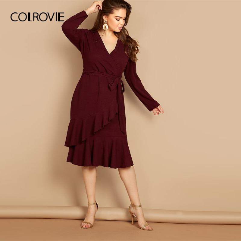 COLROVIE плюс размеры галстук бордового цвета талии Surplice обёрточная бумага рюшами Повседневное платье женские 2019 весна корейский с длинным рук...