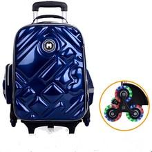 цены 2/6 Wheels Girls Waterproof School Bag Fashion Boy Backpack Trolley Bag Children School Bags Kids Wheeled Bags Girls Backpack