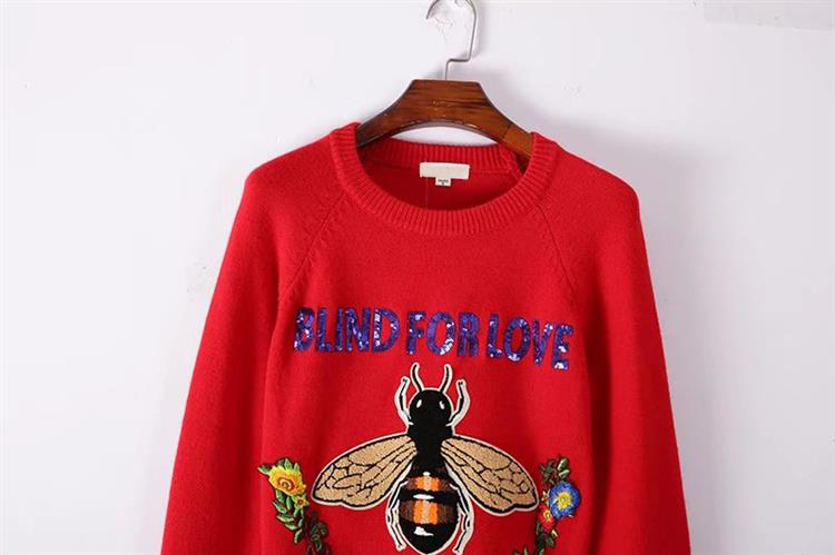 HTB163OoeMn.PuJjSZFkq6A lpXaO - BLIND FOR LOVE Women Embroidery Sweaters Red Christmas Long Sleeve O Neck Floral Bee Sweater PTC 299