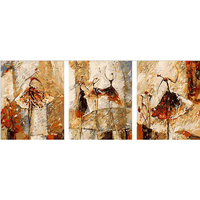Vintage Home Decor Hand Painted Canvas Triptych Oil Paintings Wall Pictures For Living Room Ballet Club