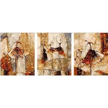 Vintage home decor pitture a olio dipinte A Mano su tela Trittico immagini a parete per soggiorno Balletto Club pittura by numbers v41