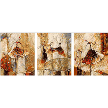 Старинные домашнего декора Ручной росписью холст Триптих картины маслом настенные панно для гостиной Балета Клуб живопись by numbers v41