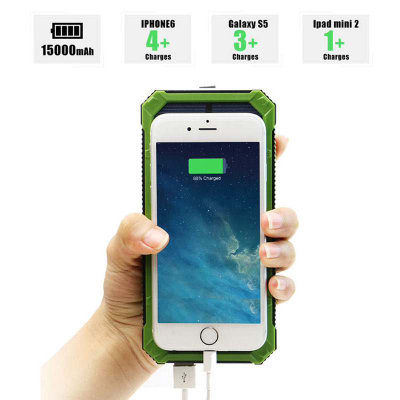 Externe chargeur solaire 15000 mah Solaire Power Bank batterie de secours avec LED pour tablet pc et tous les téléphones mobiles